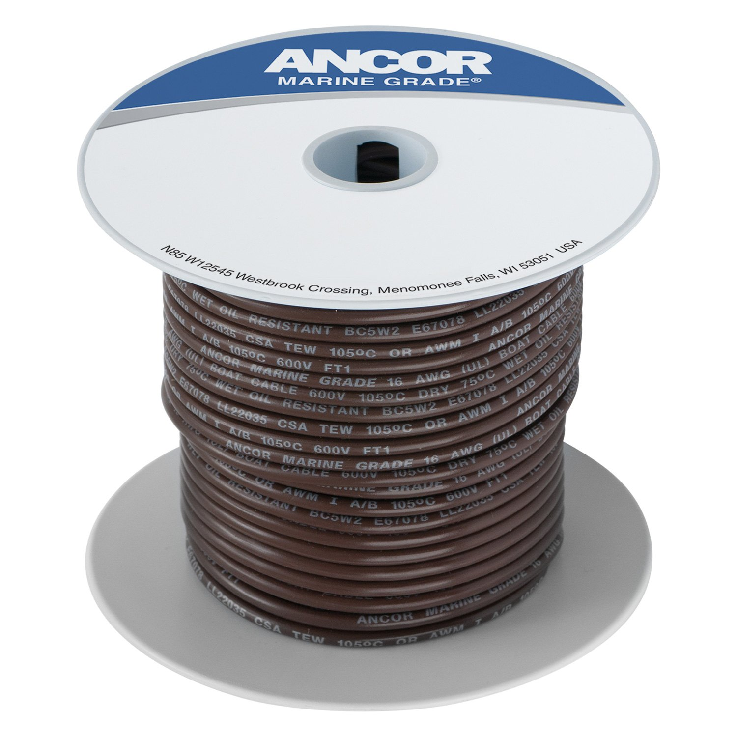 Ancor® 184203 - 14 AWG 18\' Brown Tinned Copper Wire - BOATiD.com