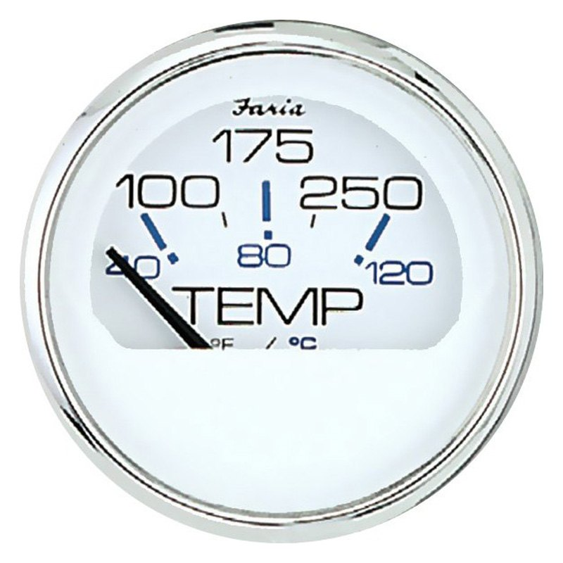 Faria Beede Instruments® - Chesapeake White Dial/Polished Stainless Steel  Bezel In-Dash Mount Gauge Set