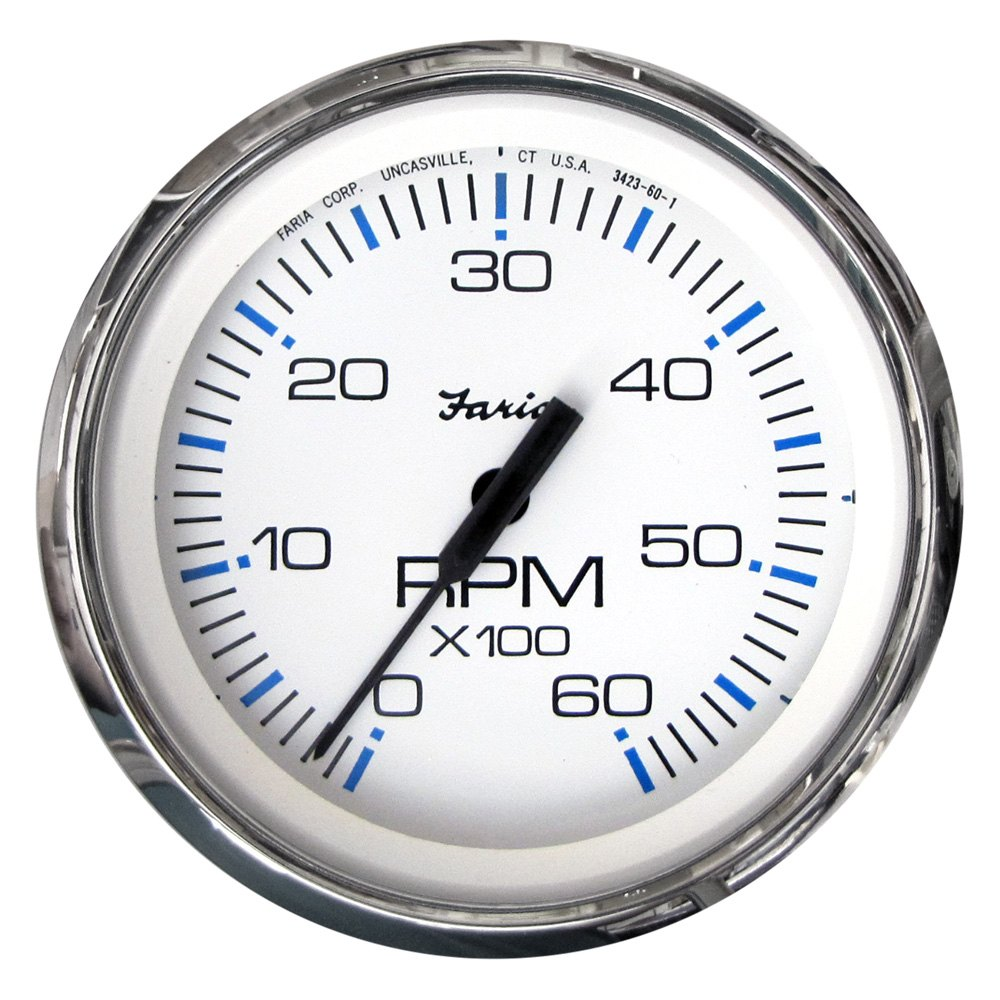 Faria Beede Instruments 33807 Chesapeake 4 White Dial Polished Tachometer In 1 Stainless Steel Bezel