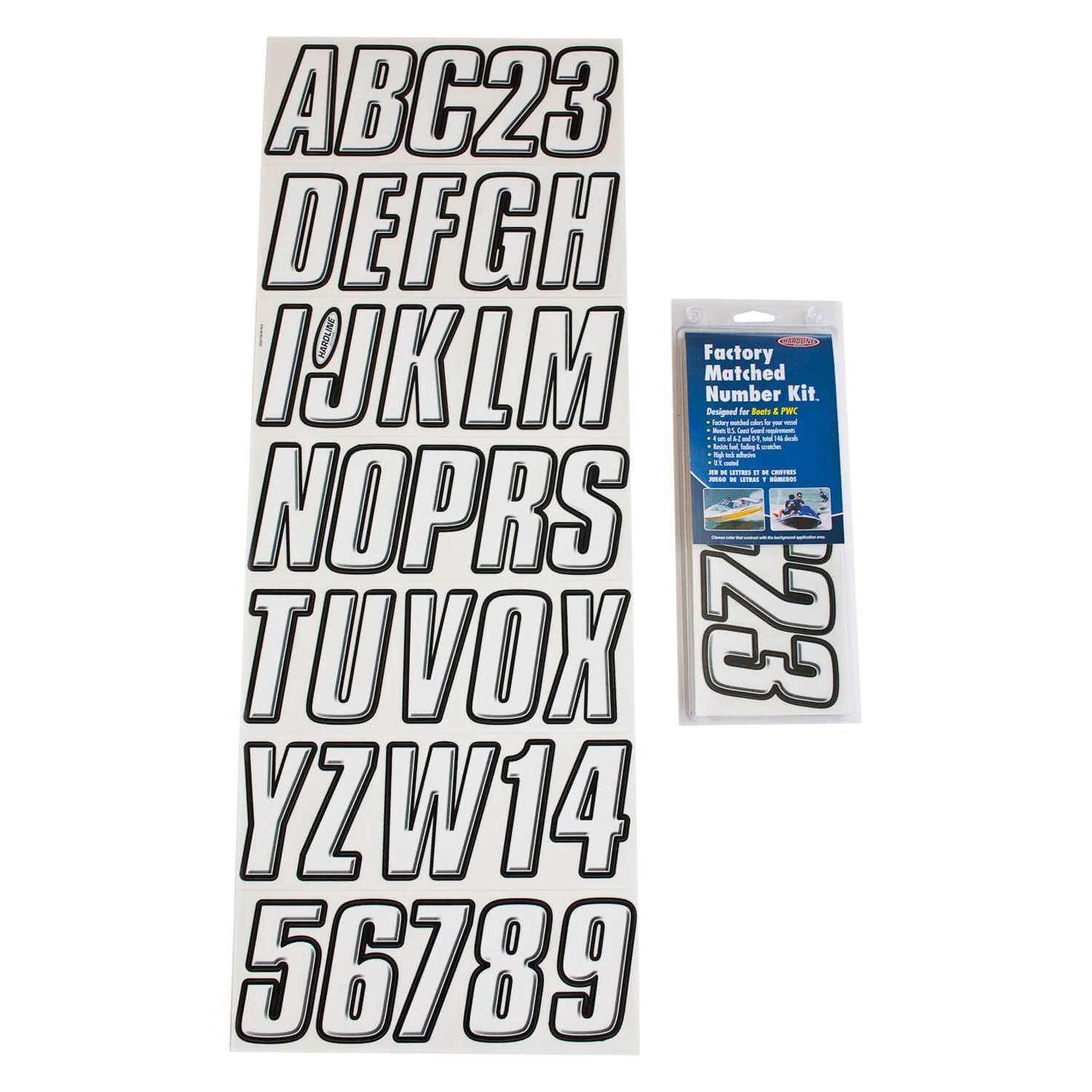 Hardline Products Whblk800 800 Series 3 White Black Boat Lettering Registration Kit