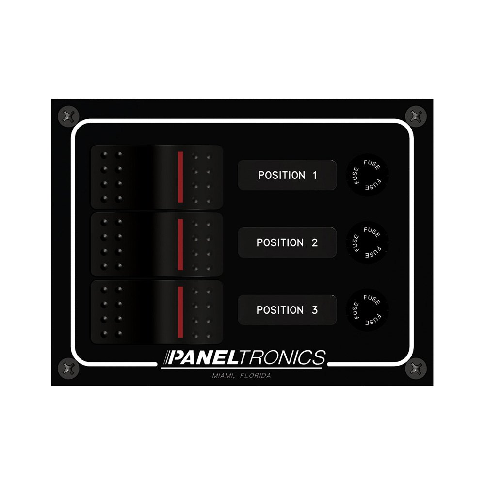 Paneltronics® 9960014B - 3-Position DC Illuminated Rocker Switch with Fuse